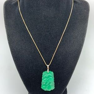 Jade 925 Vintage Green Pendant Chinese Ornament